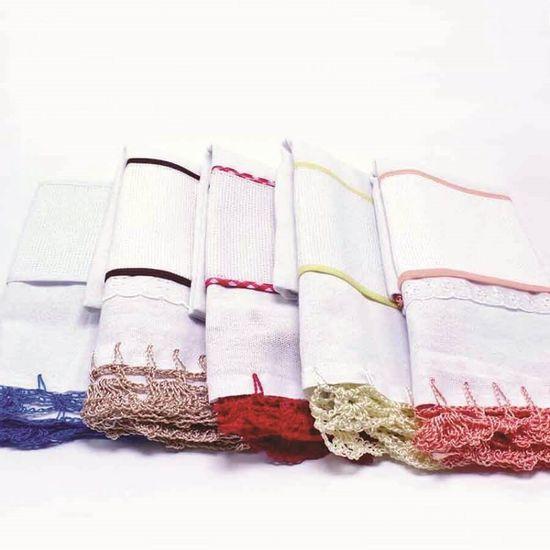 Pano de Prato com Crochê Para Bordar 38cm x 66cm - Sakoart