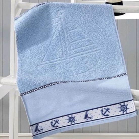 Toalha de Banho Navio Para Bordar 70cm x 1,15m - Dohler A 7239 Azul