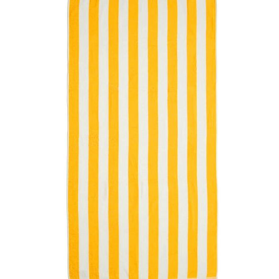 Toalha de Praia Felpuda Stripes 86cm x 1,60m - Santista Amarelo
