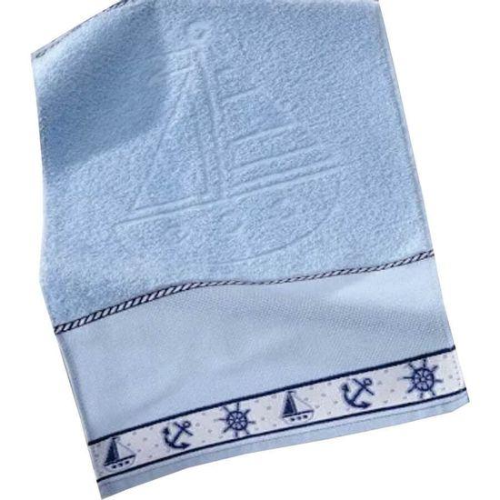 Toalha de Lavabo Navio Para Bordar 30cm x 45cm - Dohler - A 7239 Azul
