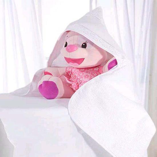Toalha de Banho com Capuz Baby Love Para Bordar com Forro de Fralda - Dohler Branco