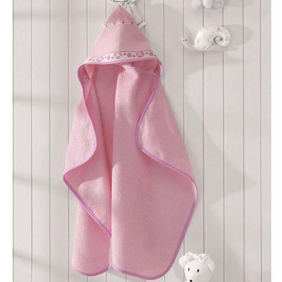 Toalha de Banho com Capuz Ursinho Para Bordar 90cm x 70cm - Dohler - Rosa A5211/Rosa