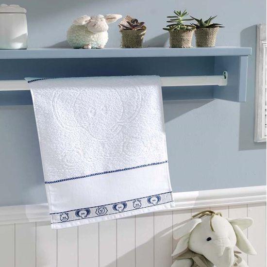 Toalha de Banho Safari Para Bordar 70cm x 1,15m - Dohler - Azul/Branco