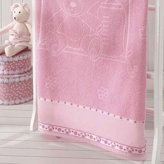 Toalha de Banho Ursinho Para Bordar 70cm x 1,15m - Dohler - Rosa A5211/Rosa