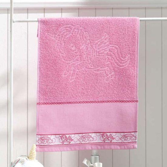 Toalha de Lavabo Unicórnio Para Bordar 30cm x 45cm - Dohler - Rosa A9921/Rosa