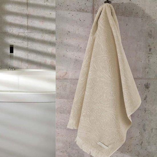 Toalha de Rosto Felpudo Liso Daisy com Franja 50cm x 80cm - Dohler - Bege 6719