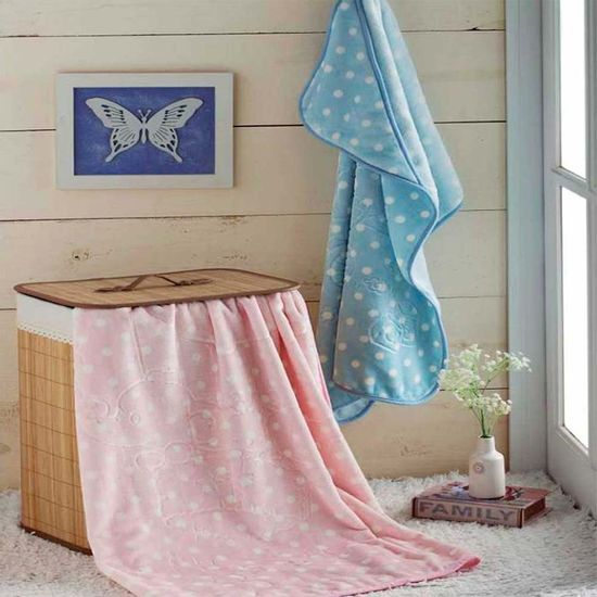 Cobertor Infantil em Relevo com Capuz para Bebê 80cm x 90cm - Jolitex - Rosa