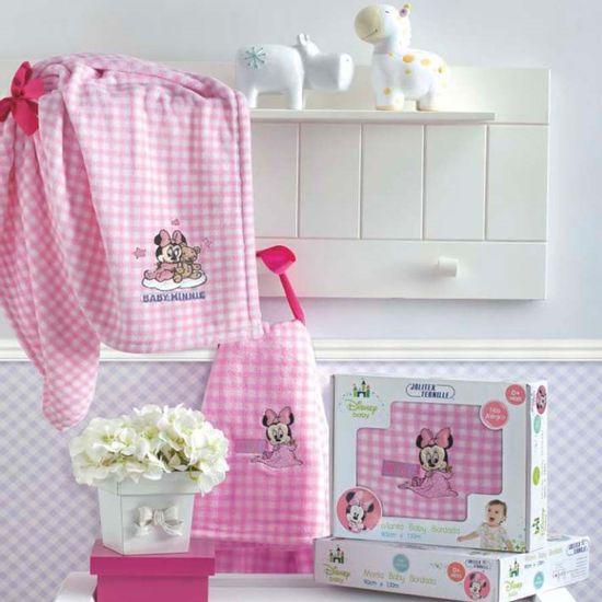 Manta Baby Bordada Disney Minnie 90cm x 1,10m - Jolitex - Mantinha Rosa