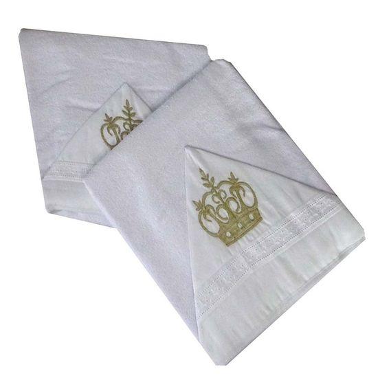 Toalha de Banho com Capuz Bordado 67cm x 90cm - Incomfral - Coroa Dourada