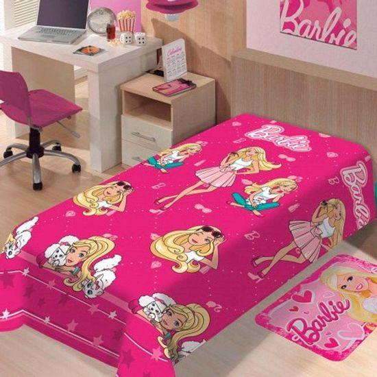Manta Soft Solteiro Barbie 1,50m x 2,00m - Jolitex Fashion
