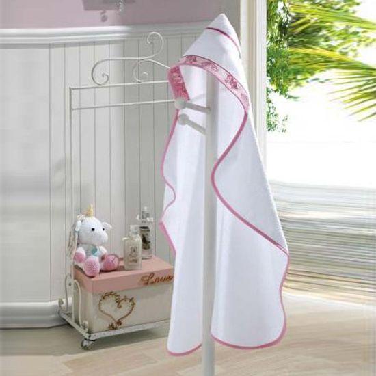 Toalha de Banho com Capuz Unicórnio Para Bordar 90cm x 70cm - Dohler - Branco/Rosa