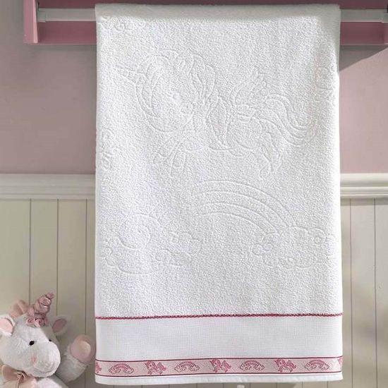 Toalha de Banho Unicórnio Para Bordar 70cm x 1,15m - Dohler - Branco/Rosa