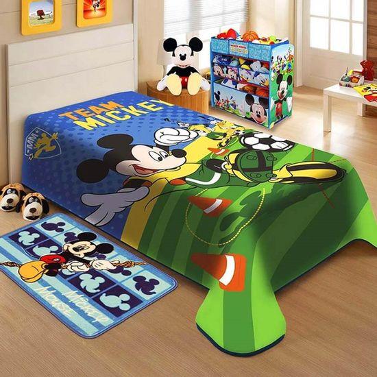 Cobertor Infantil Raschel Mickey 1,50m x 2,00m - Jolitex Mickey Futebol