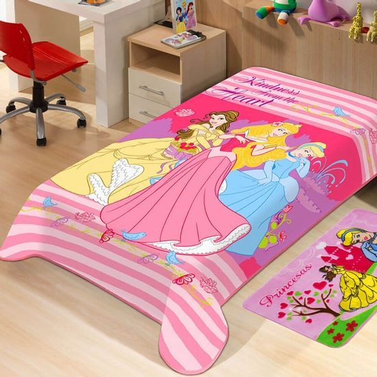 Manta de Microfibra Soft Light Solteiro Princesas 1,50m x 2,20m - Jolitex - Princesas Rosa