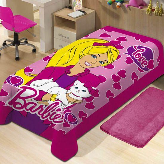 Manta de Microfibra Soft Light Solteiro Barbie 1,50m x 2,20m - Jolitex Barbie Rosa