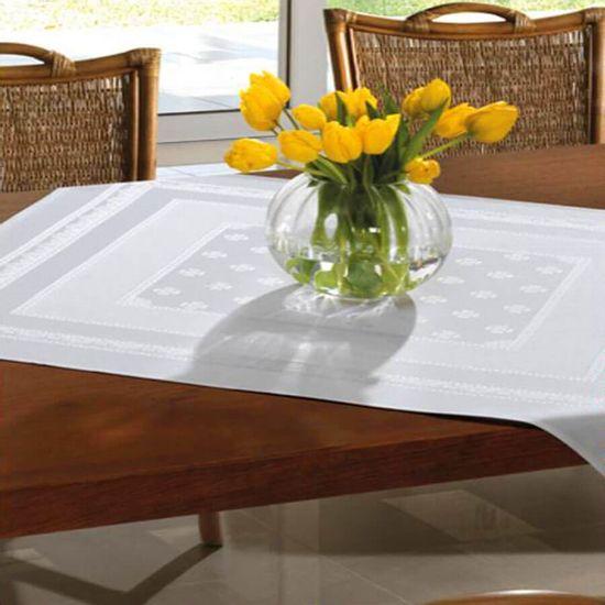 Toalha de Mesa Dubai Para Bordar Quadrada 90cm x 90cm - Dohler - Branco