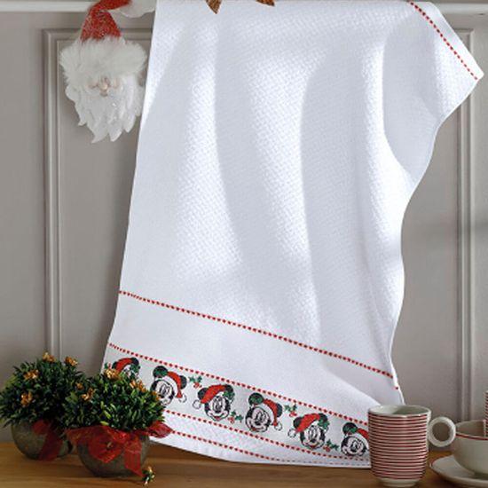 Pano de prato natalino atoalhado Mickey 45 cm x 70 cm  Dohler - Branco