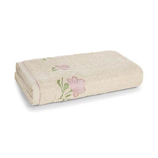 Toalha De Rosto Felpuda Yana 48 Cm x 80 Cm - Karsten - Bege Bone/Rosa